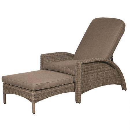 Outdoor Rattan Garden Lounger & Store Away Stool