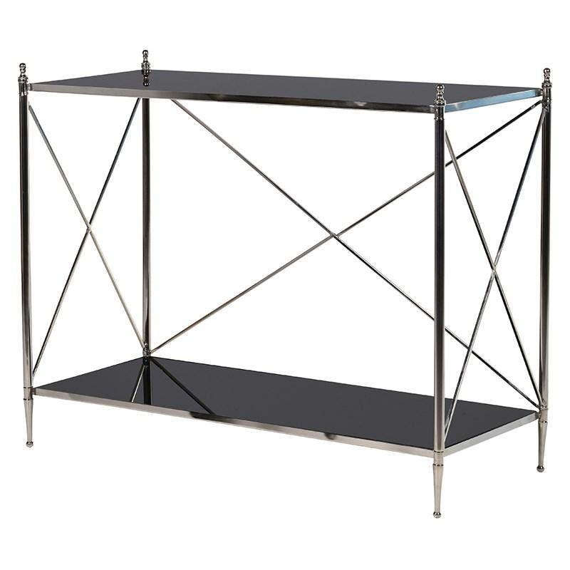 Black mirror chrome contemporary console table - Modern console table with mirror ...