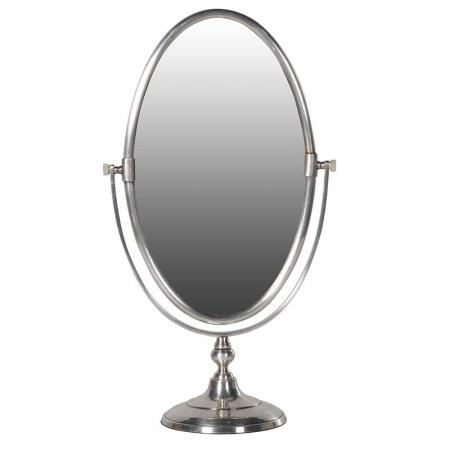 Freestanding Silver Oval Etched Toilette Mirror