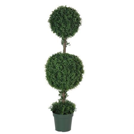Green Outdoor Double Box Ball Topiary In Green Pot