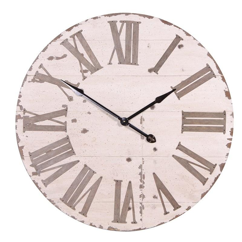 Heavy Wooden Rustic Round Cream Wall Clock Mulberry Moon