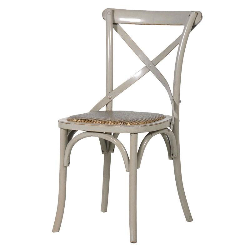 Hampshire French Grey X Back Rattan Dining Room Chair