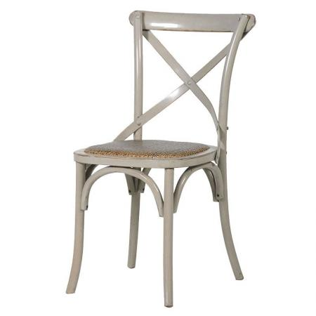 French Grey X Back Rattan Style Seat Dining Room Chair