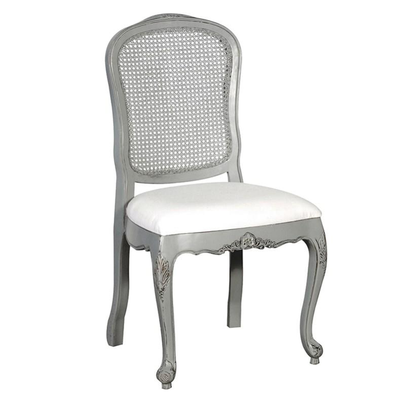 French Grey Shabby Chic Rattan Dining Chair