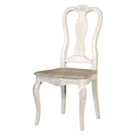 French Cream / Oak Shabby Chic Carved Dining Chair