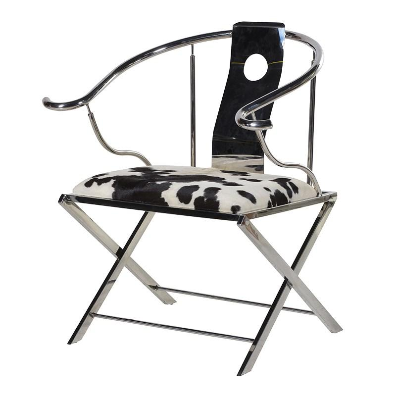 Contemporary Stainless Steel Cowhide Chair Mulberry Moon