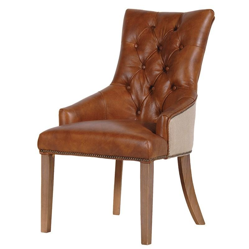 Contemporary tan italian leather dining chair mulberry moon for Contemporary leather dining room chairs