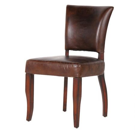 Contemporary Brown Italian Leather Dining Chair