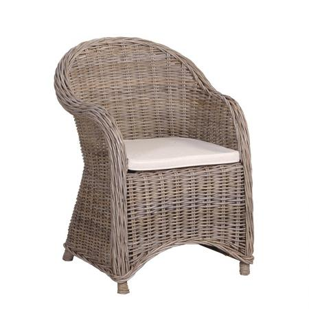 Shabby Chic Rattan Patio /Garden Chair & Cushion