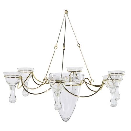 Shabby Chic Glass Arm Candle Holder Chandelier