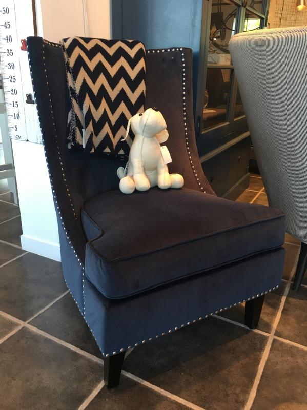Blue Fabric Sofa Chair With Silver Studs We Used A Few Of These Chairs In Boutique Hotel Renovation And They Looked Beautiful Within Their Seati