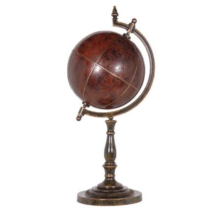 Antique  World Globe Sculpture  On Stand