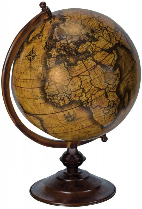 Vintage bathroom mirrors sale - Large Brown World Map Globe Sculpture Ornament Mulberry Moon
