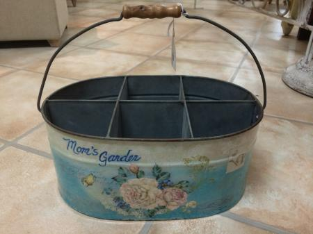 Vintage Metal Blue Moms Garden Planter