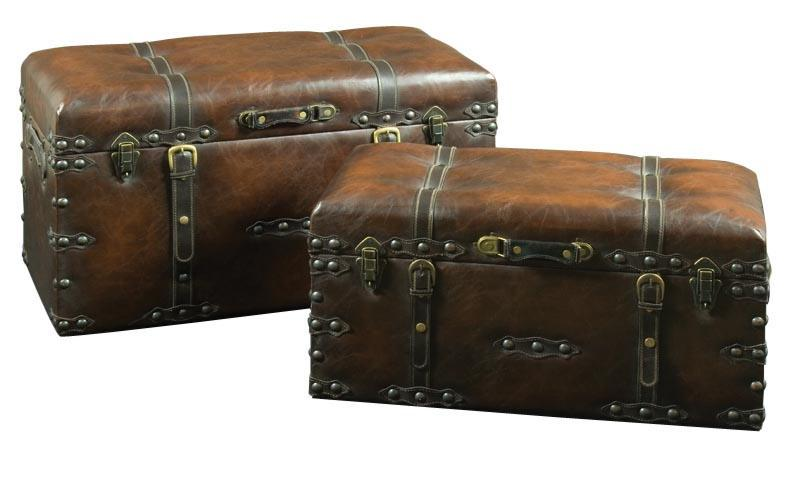 2 brown faux leather storage trunks antique chests mulberry moon - Leather chests and trunks ...
