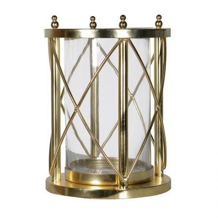 Contemporary Gold Hurricane Vase /Candle Holder
