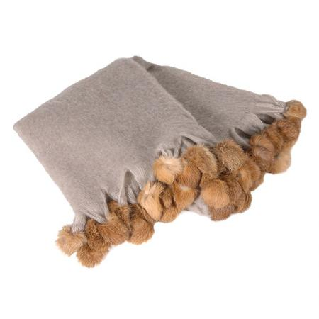 Beige Rabbit Pom Pom Wool Throw
