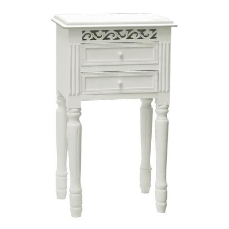Belgravia White Wood 2 Drawer Bedside Table