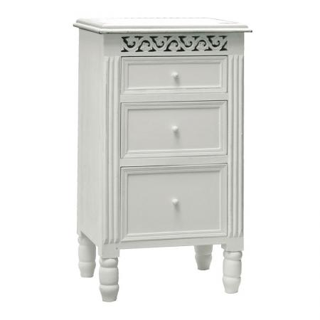 Belgravia White Wood 3 Drawer Bedside