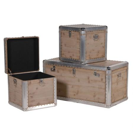 3 Contemporary Silver Trim Wooden Storage Trunks