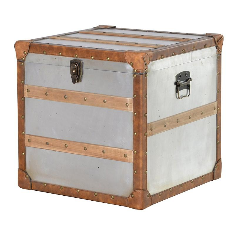 Great Square Metal Storage Trunk With Wood Trim