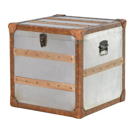 Square Metal Storage Trunk With Wood Trim