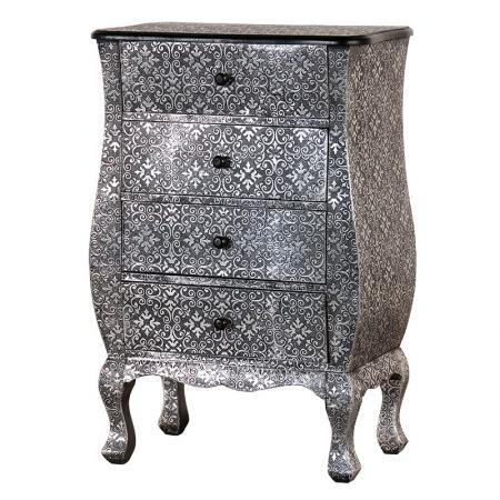 Silver Embossed Wooden Chest of Drawers