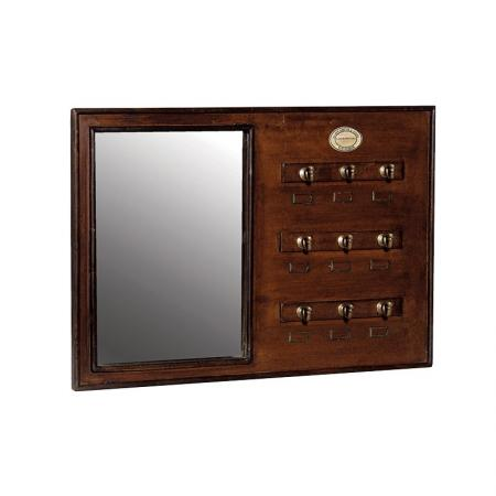Antiqued Wooden Cloakroom Mirror With Hooks