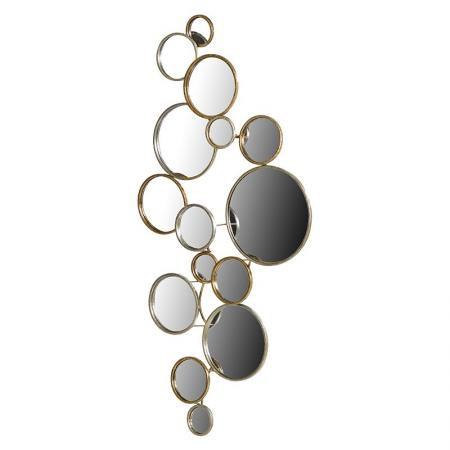 Contemporary Round 15 Circles Gold Wall Mirror