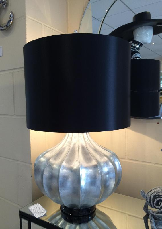 Large Silver Pumpkin Base Modern Table Lamp / Black Shade ...
