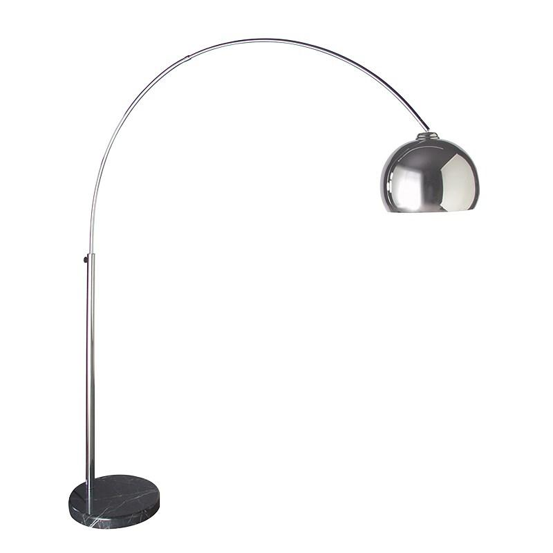Contemporary Arched Chrome Floor Lamp Marble Base