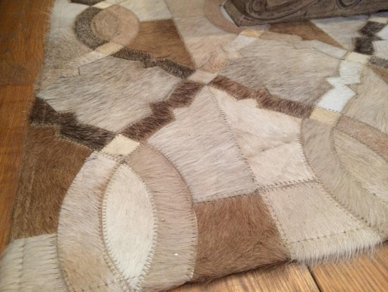 Large Brown Hexagon Cowhide Rug Mulberry Moon