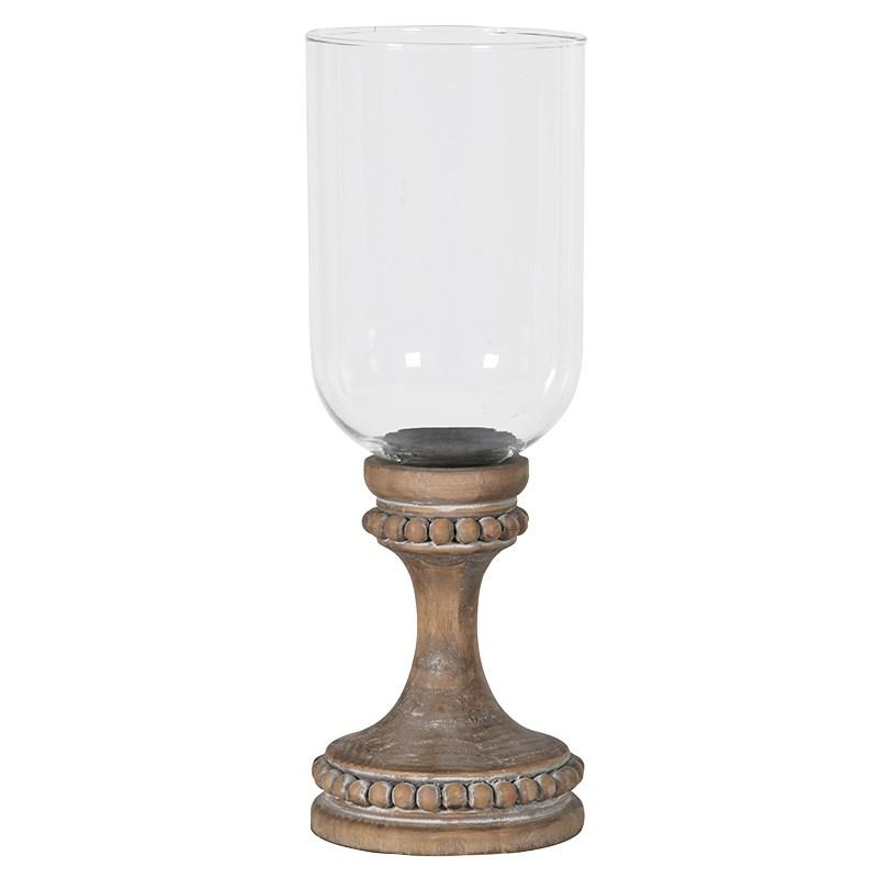 Vintage Wood / Glass Hurricane Lamp | Mulberry Moon