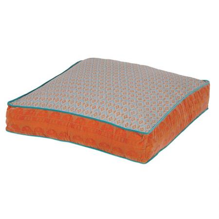 Large Orange & Blue Patterned Floor Cushion
