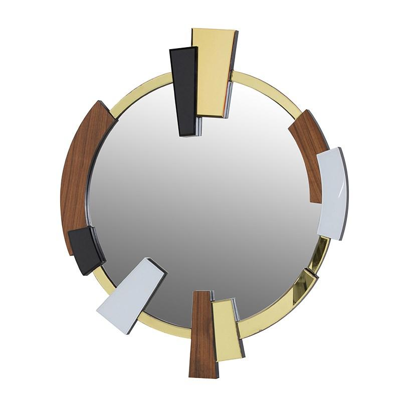 Round wood glass abstract art deco mirror mulberry moon for Miroir art deco