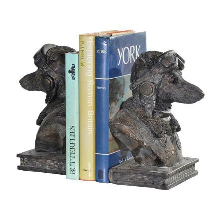 Pilot Dog Sculpture Bookends