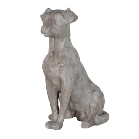 Grey Sitting Dog Sculpture