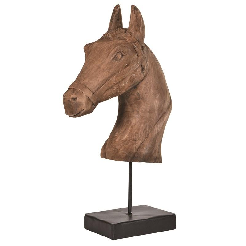 Large Wooden Horse Head Sculpture On Stand