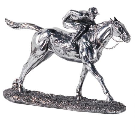 'Silver' Horse & Jockey Sculpture