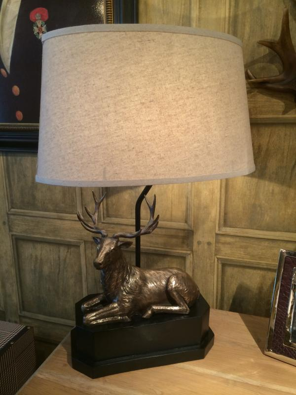 Stag / Deer Study Table Lamp With Cream Shade. Availability: In Stock