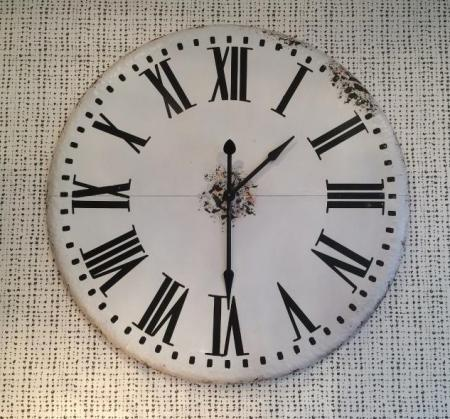 Giant White Rustic Metal Wall Clock
