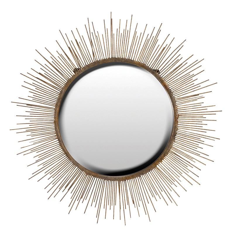 Large antiqued gold sunburst mirror mulberry moon for Big gold mirror
