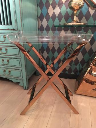 Contemporary Acrylic / Copper Metal Folding Table