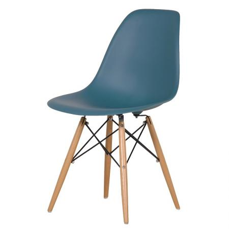 Blue Moulded Seat Chair With Wooden Legs