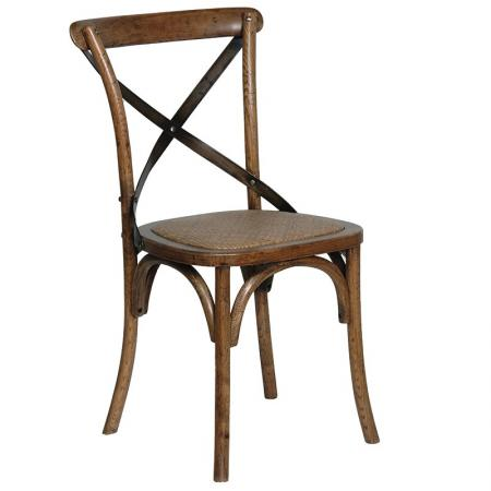 Dark Oak Steel X-Back Dining Chair