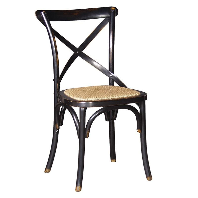 Black noir x back rattan style seat dining room chair for Chaise bistrot metal