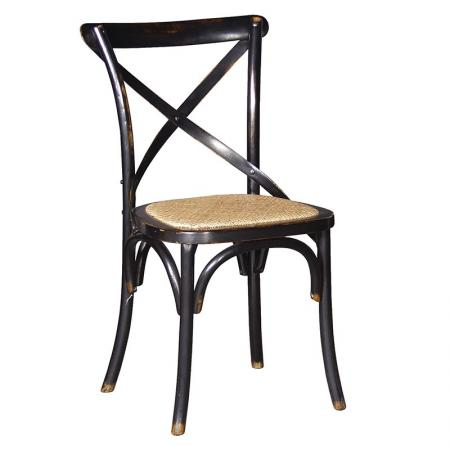 Black Noir X- Back Rattan Style Seat Dining Room Chair