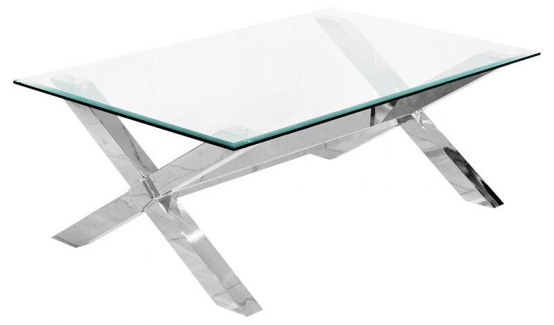 Modern Glass Chrome Cross Leg Coffee Table Mulberry Moon