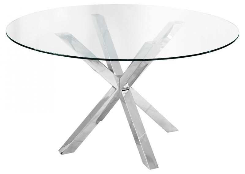 Modern Glass Chrome Cross Leg Dining Table