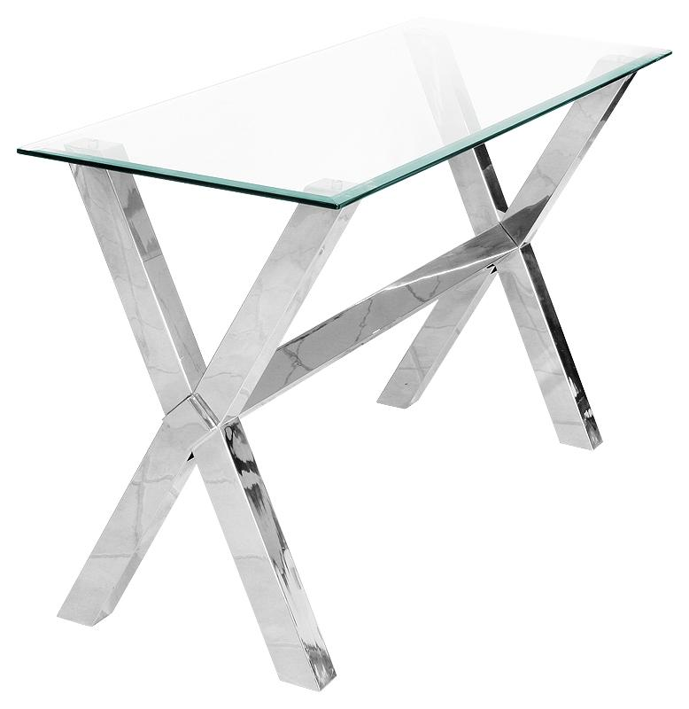 Glass Chrome Cross Leg Hall Table / Console Table